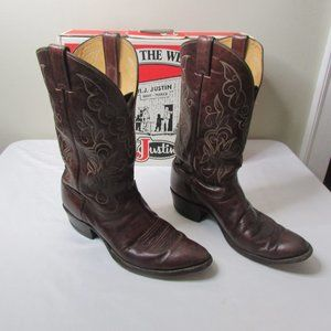 Justin Cowboy Boots Men 11D Brown Style 2555